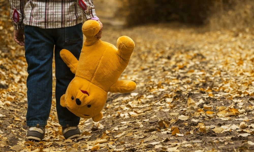 child holding stuffed toy that looks like winnie the pooh in forest